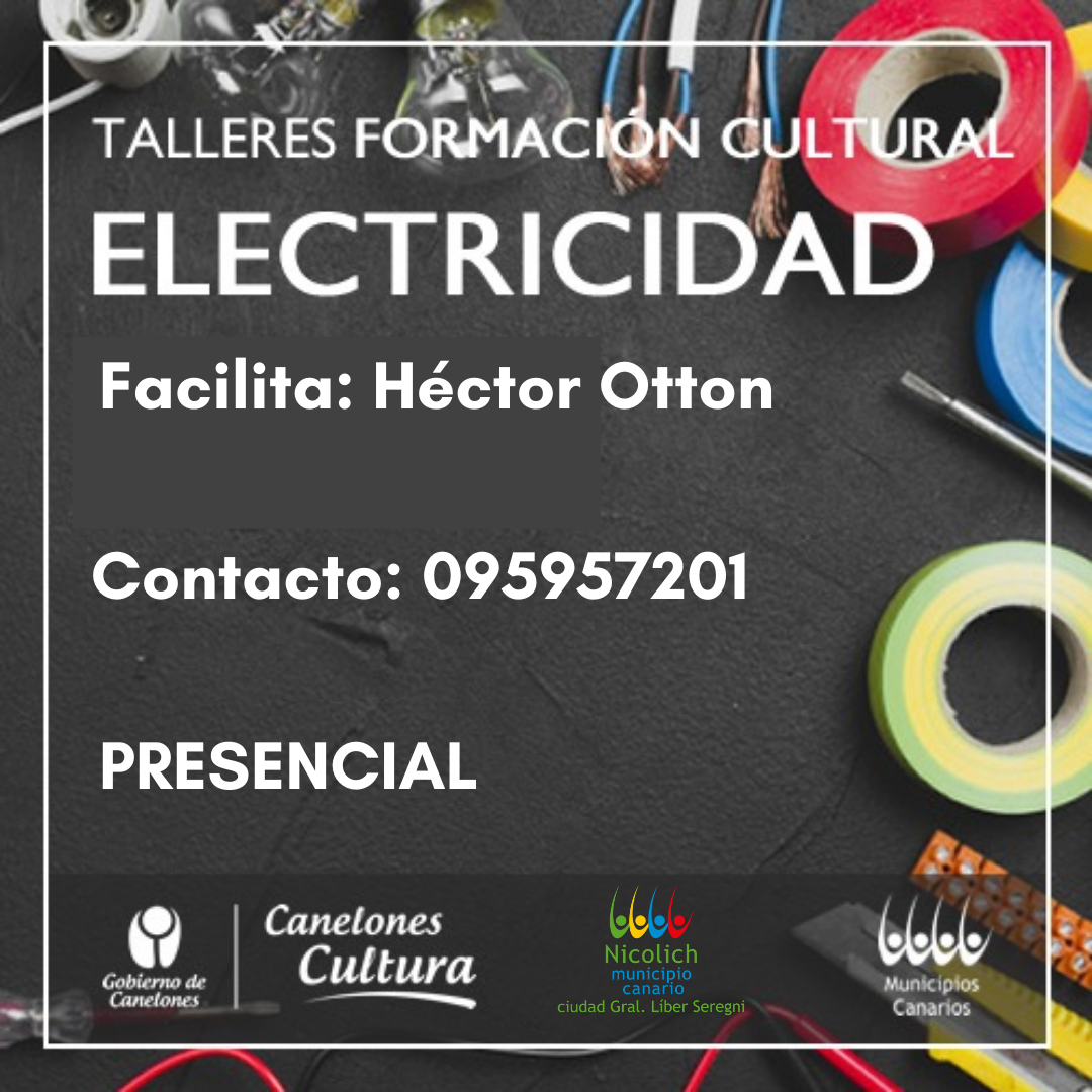 Comienza curso presencial de electricidad en el Centro Cívico Nicolich, Ruta 101 Km 22, los talleres se realizarán los primeros y los terceros jueves de cada mes, por consultas comunicarse con el faclitador Héctor Otton 095957201.